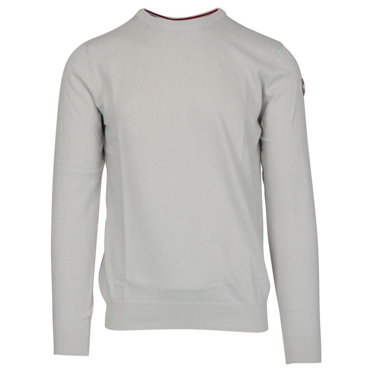 Crew neck cotton pullover with ribbed profiles Light grey Colmar