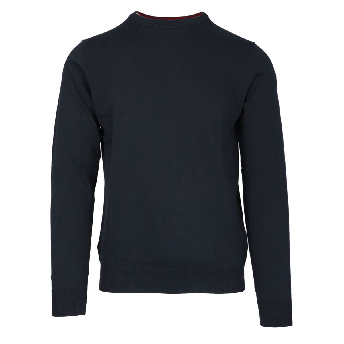 Crew neck cotton pullover with ribbed profiles Navy Colmar