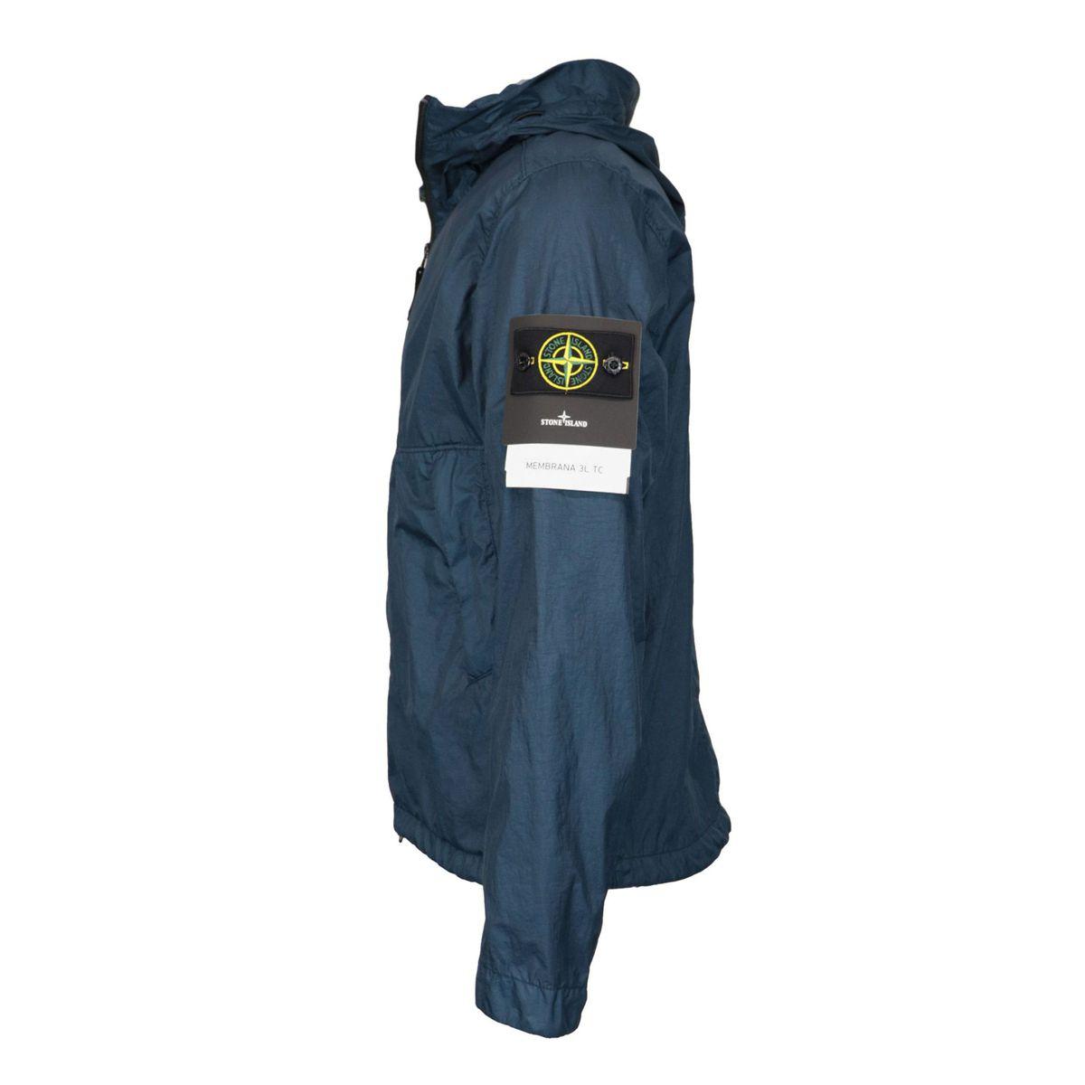 Hooded jacket in matt laminated nylon Navy Stone Island