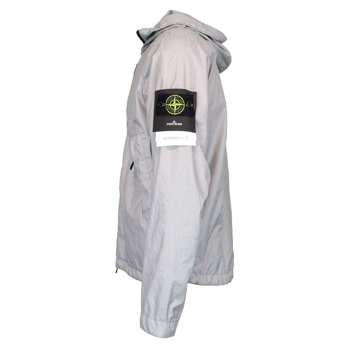 Hooded jacket in matt laminated nylon Powder Stone Island