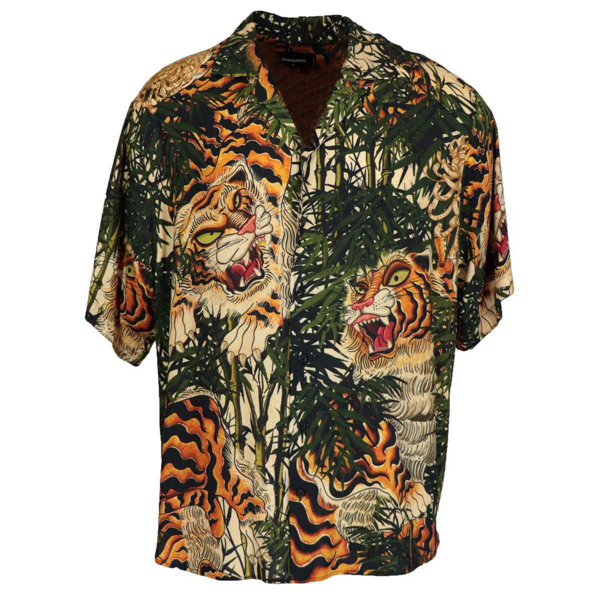 Over shirt in viscose with tiger print Green Dsquared2