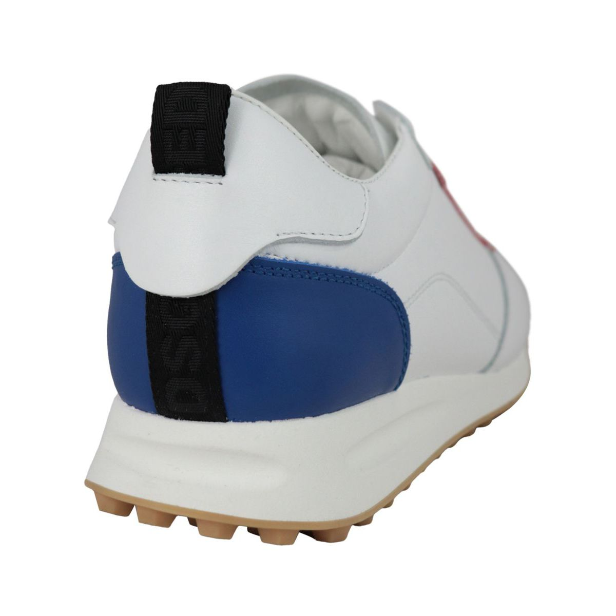 Leather sneakers with logo plate White Dsquared2