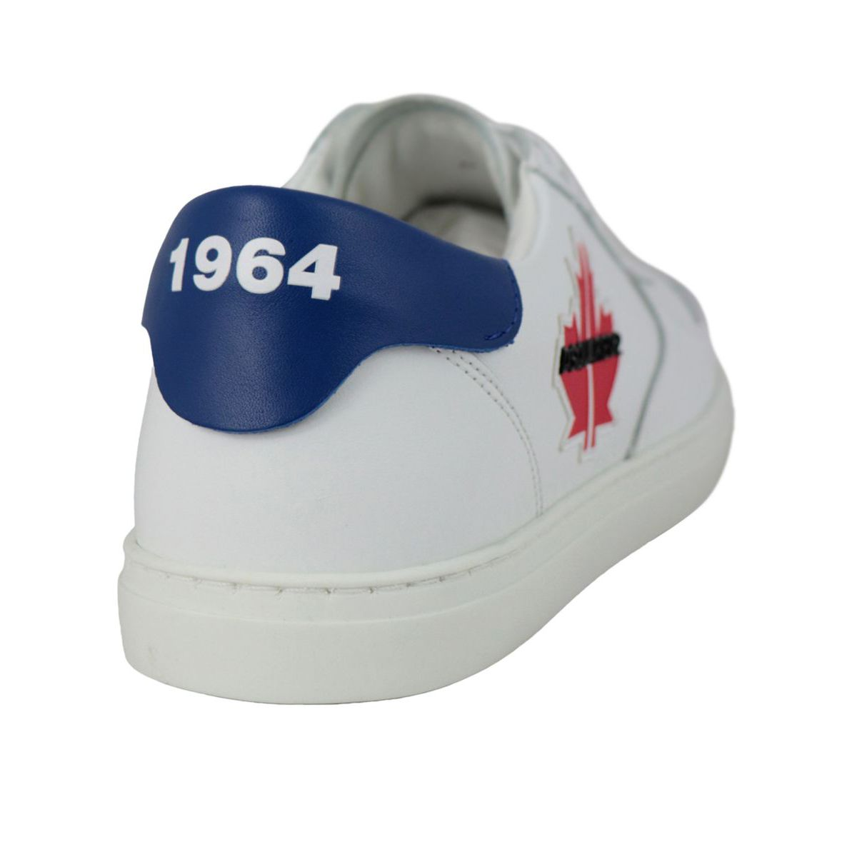 Cassette bottom leather sneakers with logo application White Dsquared2