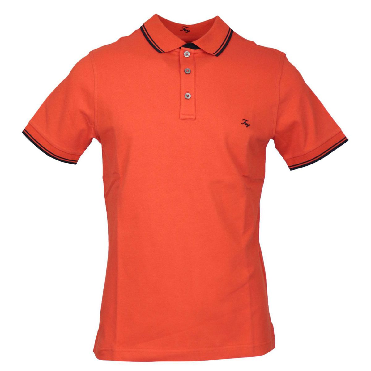 Three button stretch cotton polo shirt with logo embroidery Orange Fay