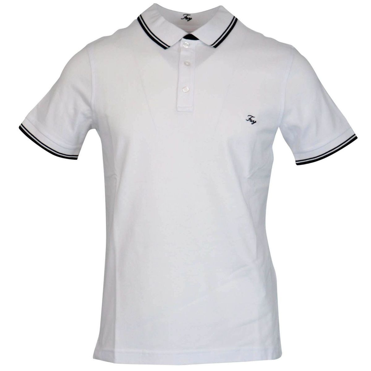 Three button stretch cotton polo shirt with logo embroidery White Fay