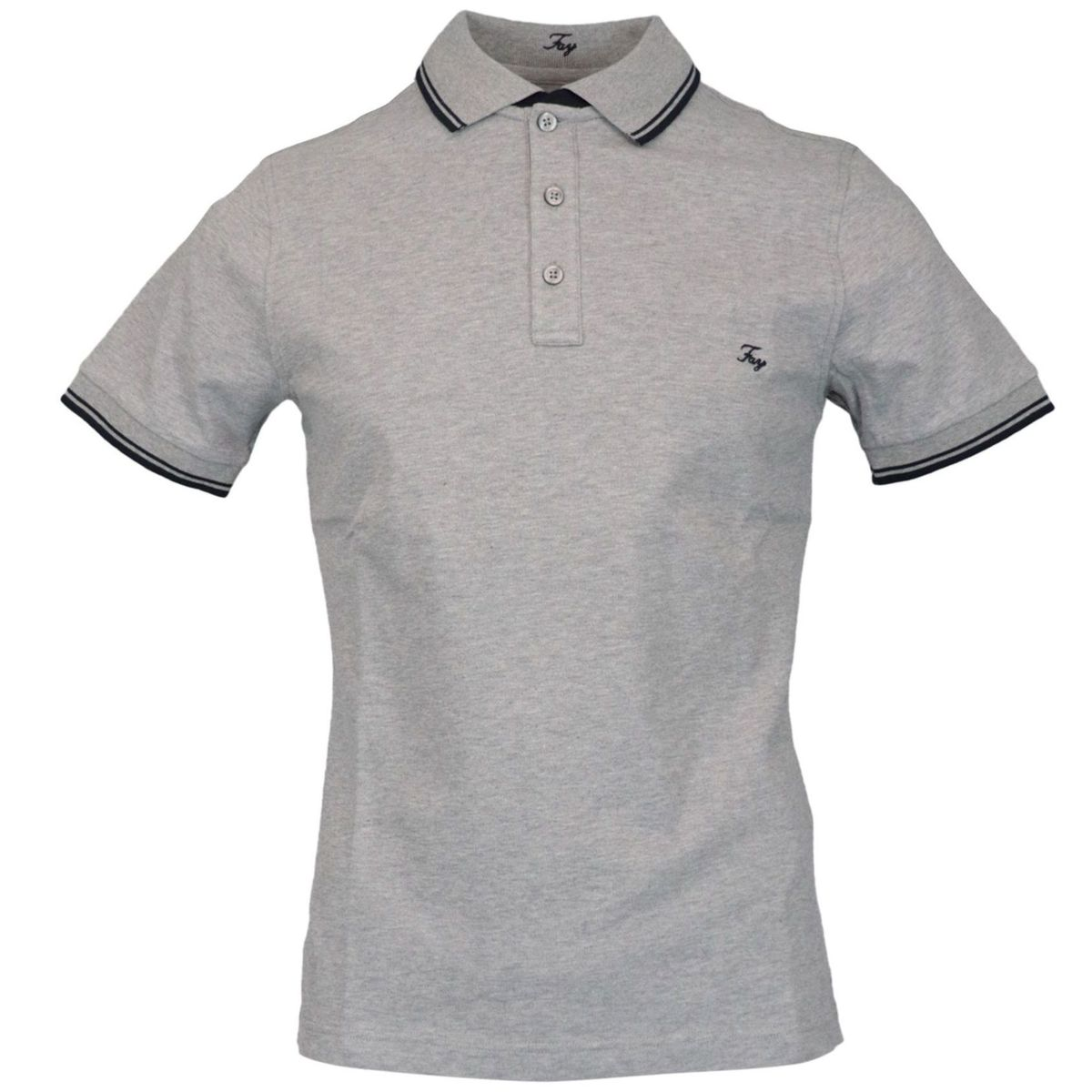 Three button stretch cotton polo shirt with logo embroidery Light grey Fay