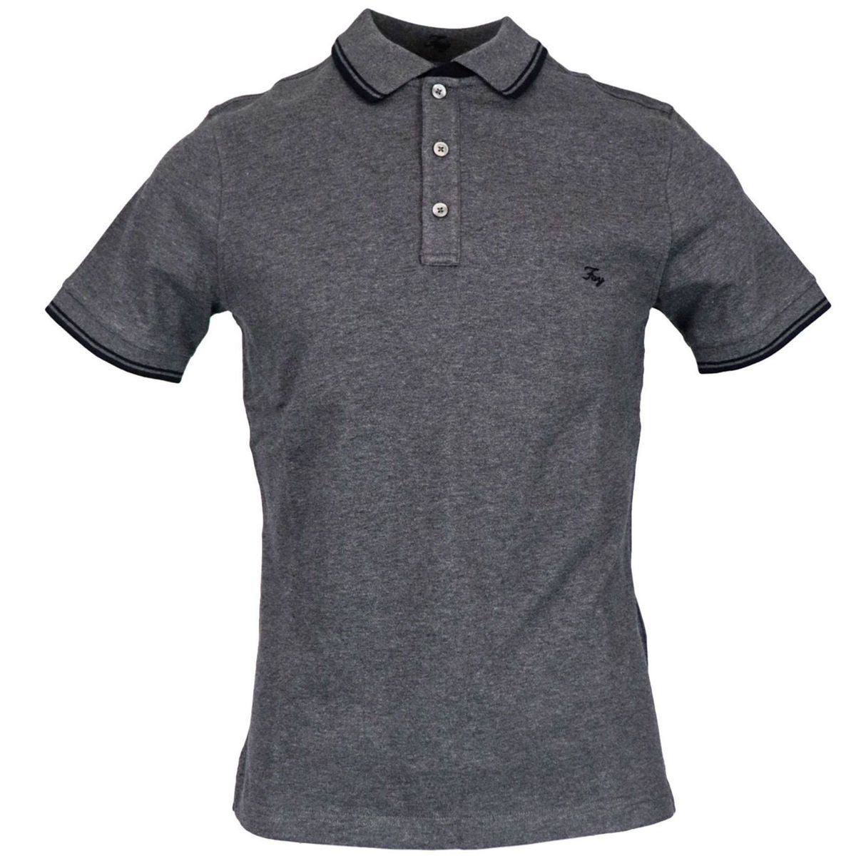 Three button stretch cotton polo shirt with logo embroidery Dark gray Fay