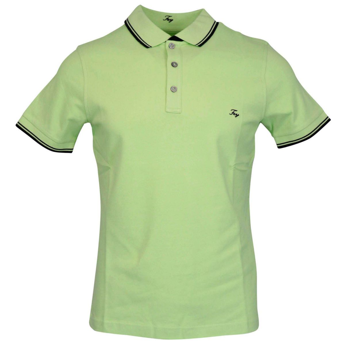 Three button stretch cotton polo shirt with logo embroidery Green Fay