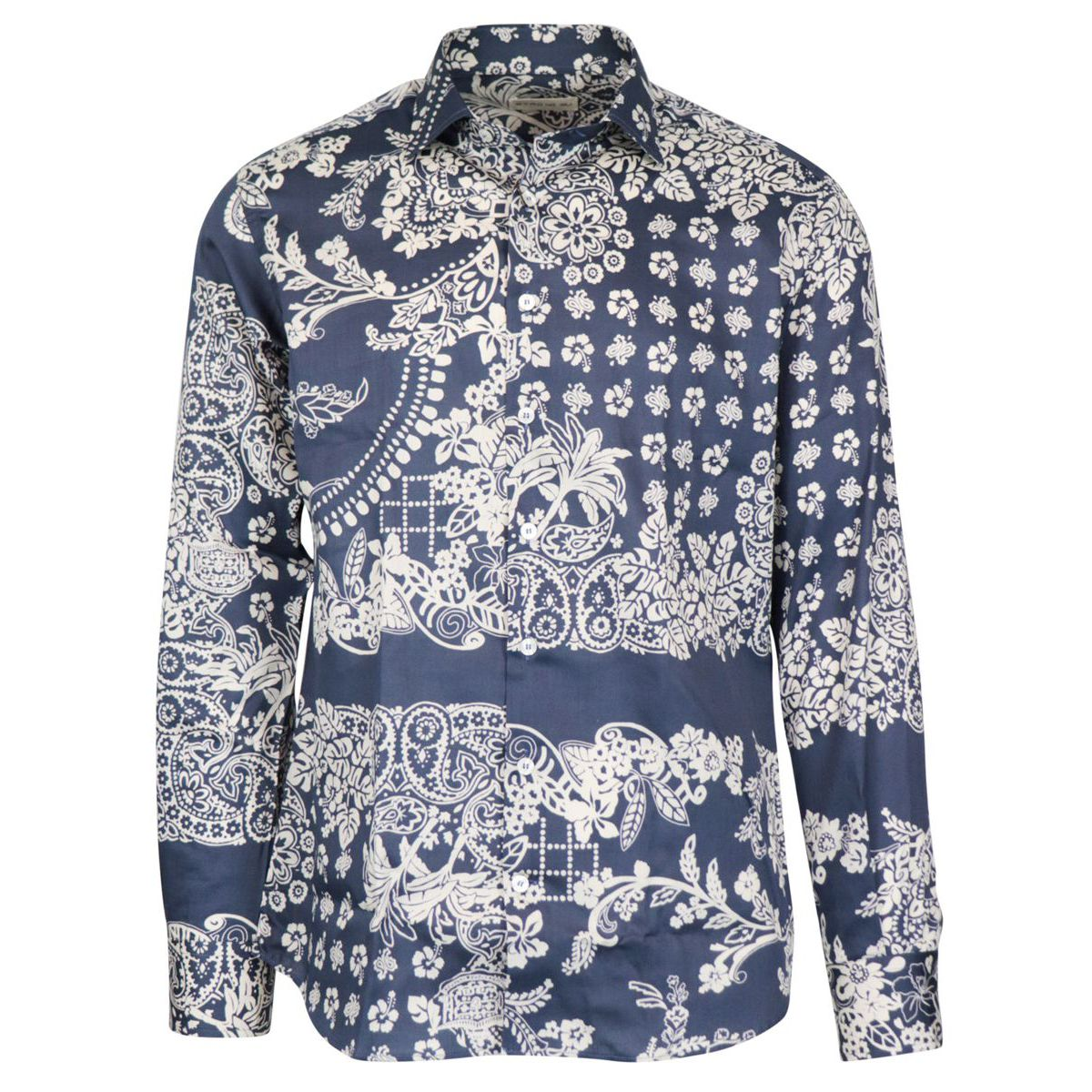 Spread slim shirt in cotton with print Blue Etro