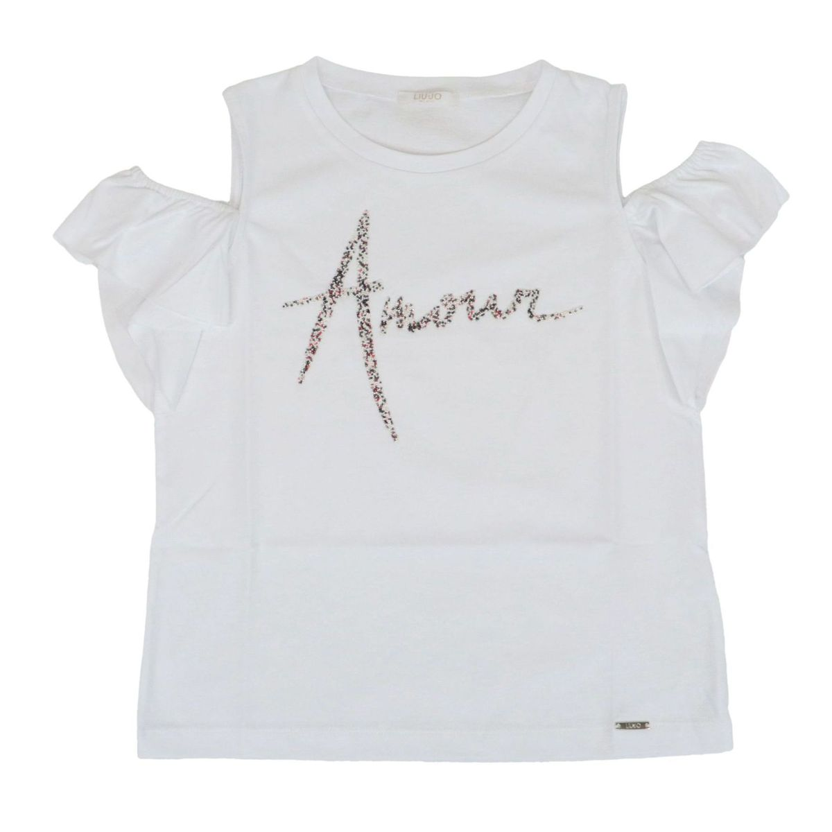 Cotton t-shirt with print and bare shoulders White Liu Jo
