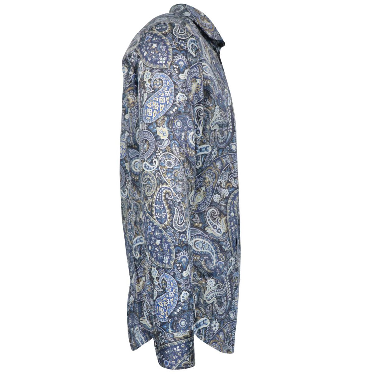 Spread slim-fit cotton shirt with paisley print Blue Etro