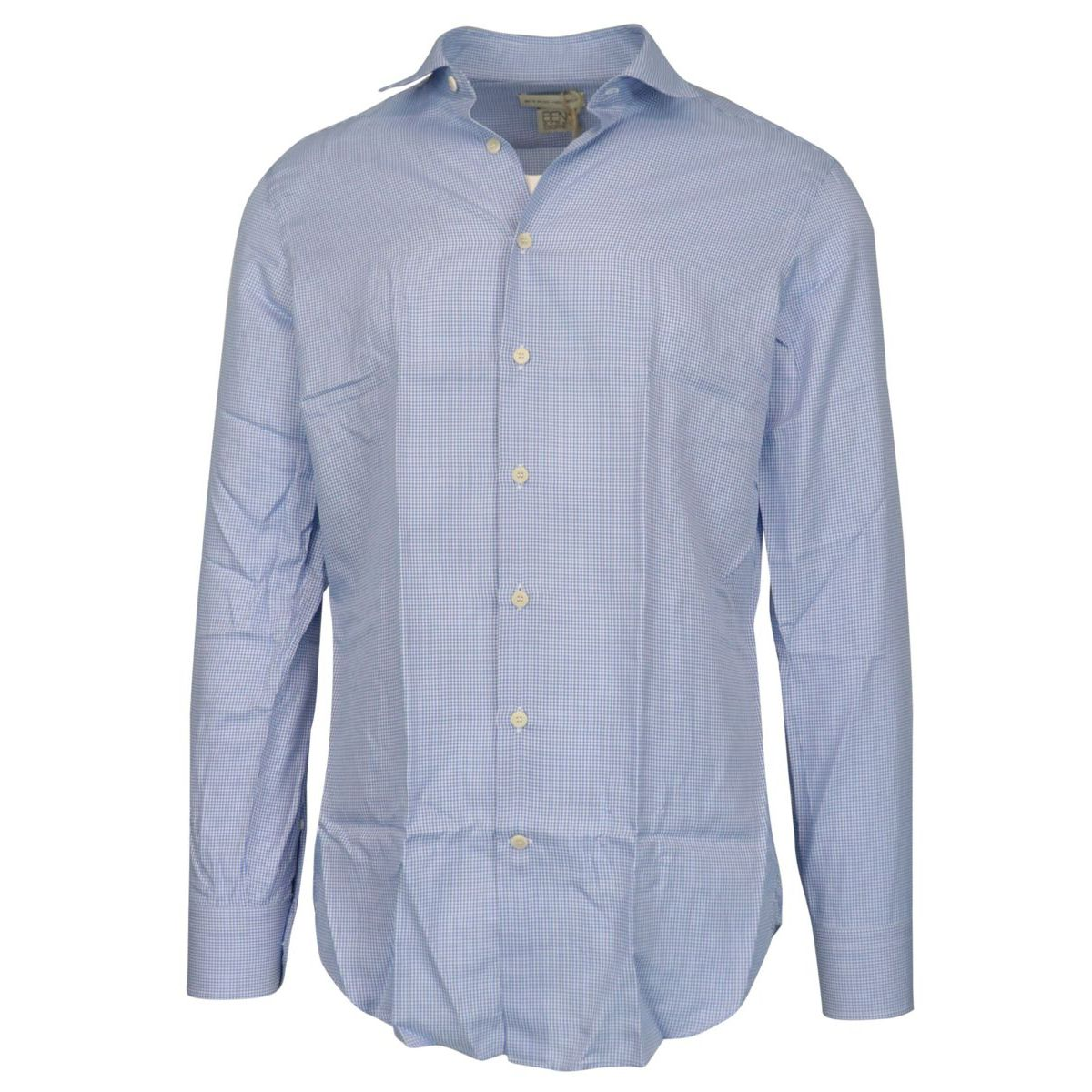 Spread slim-fit shirt in micro-patterned cotton Light blue Etro