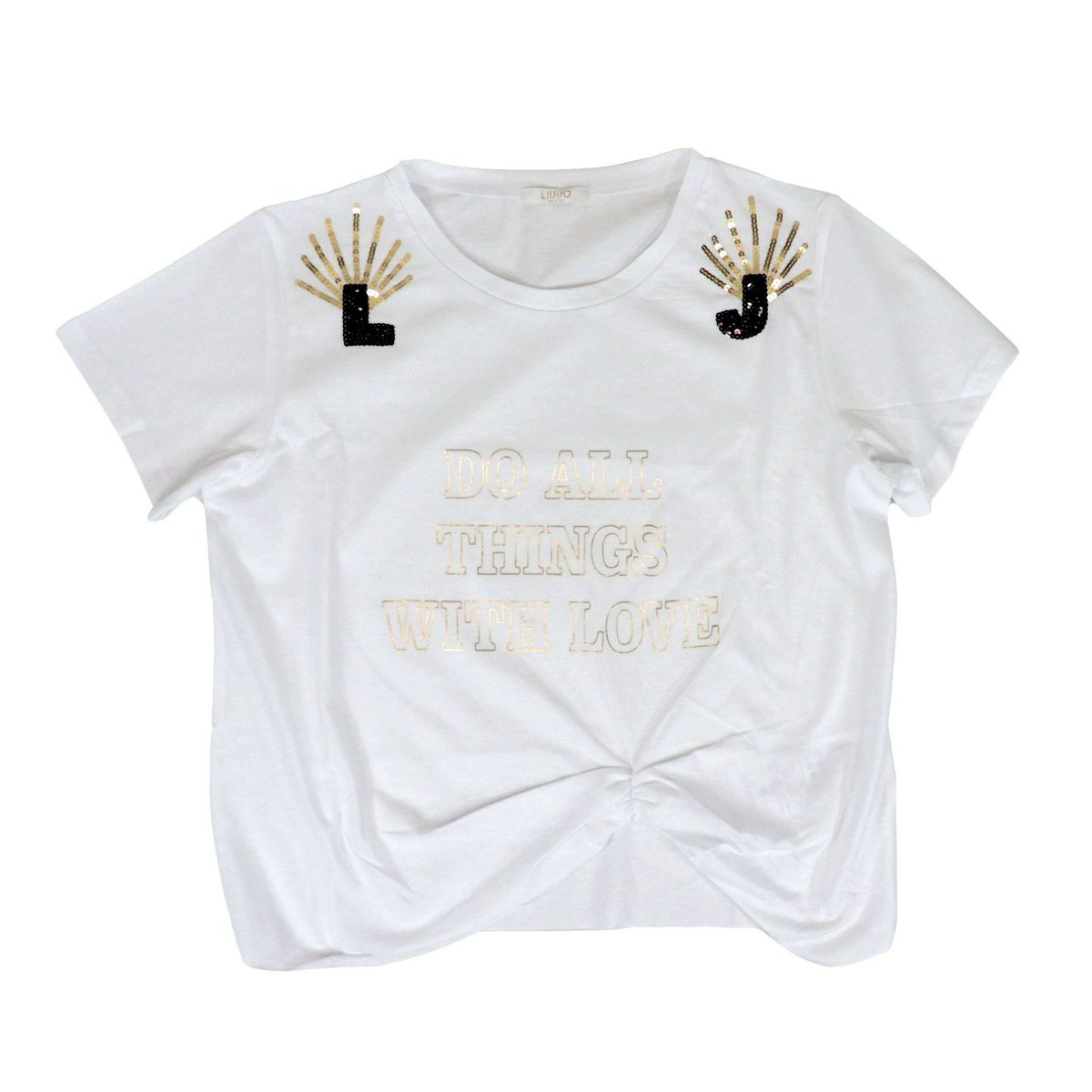 Cropped cotton T-shirt with print and drapery White Liu Jo