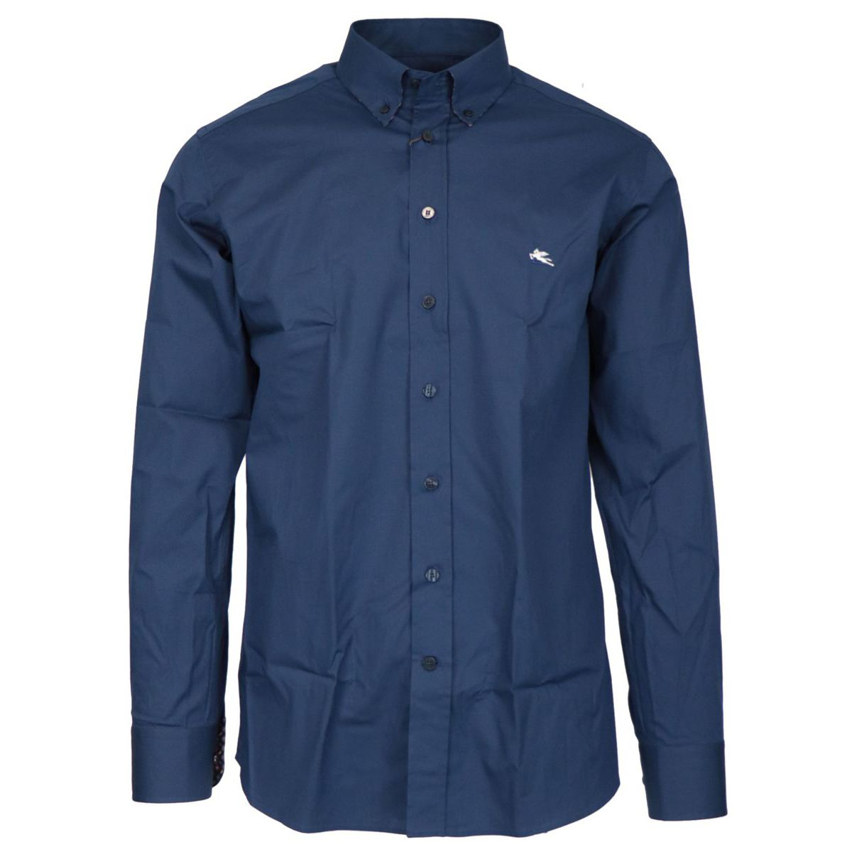 Regular-fit button-down shirt in cotton Blue Etro
