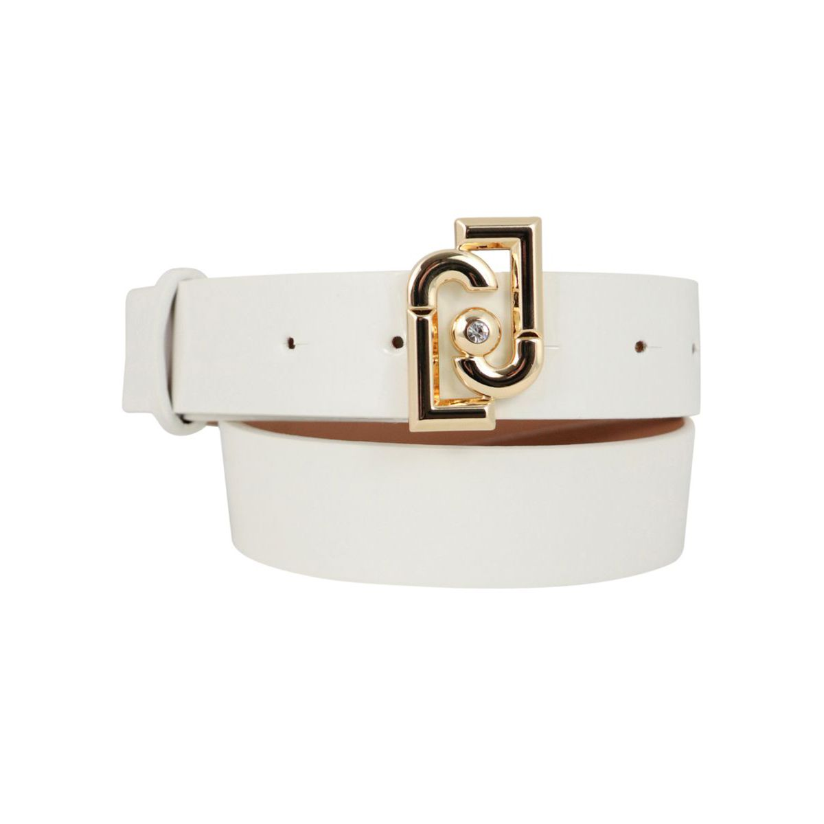 Faux leather belt with logo buckle White Liu Jo