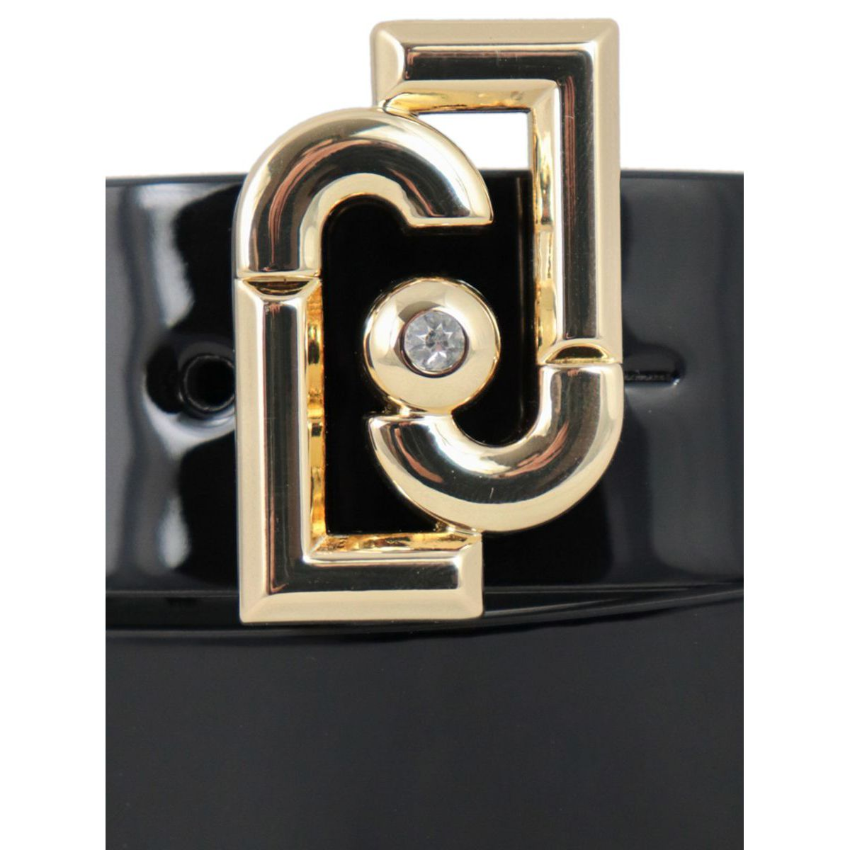 Faux leather belt with logo buckle Black Liu Jo