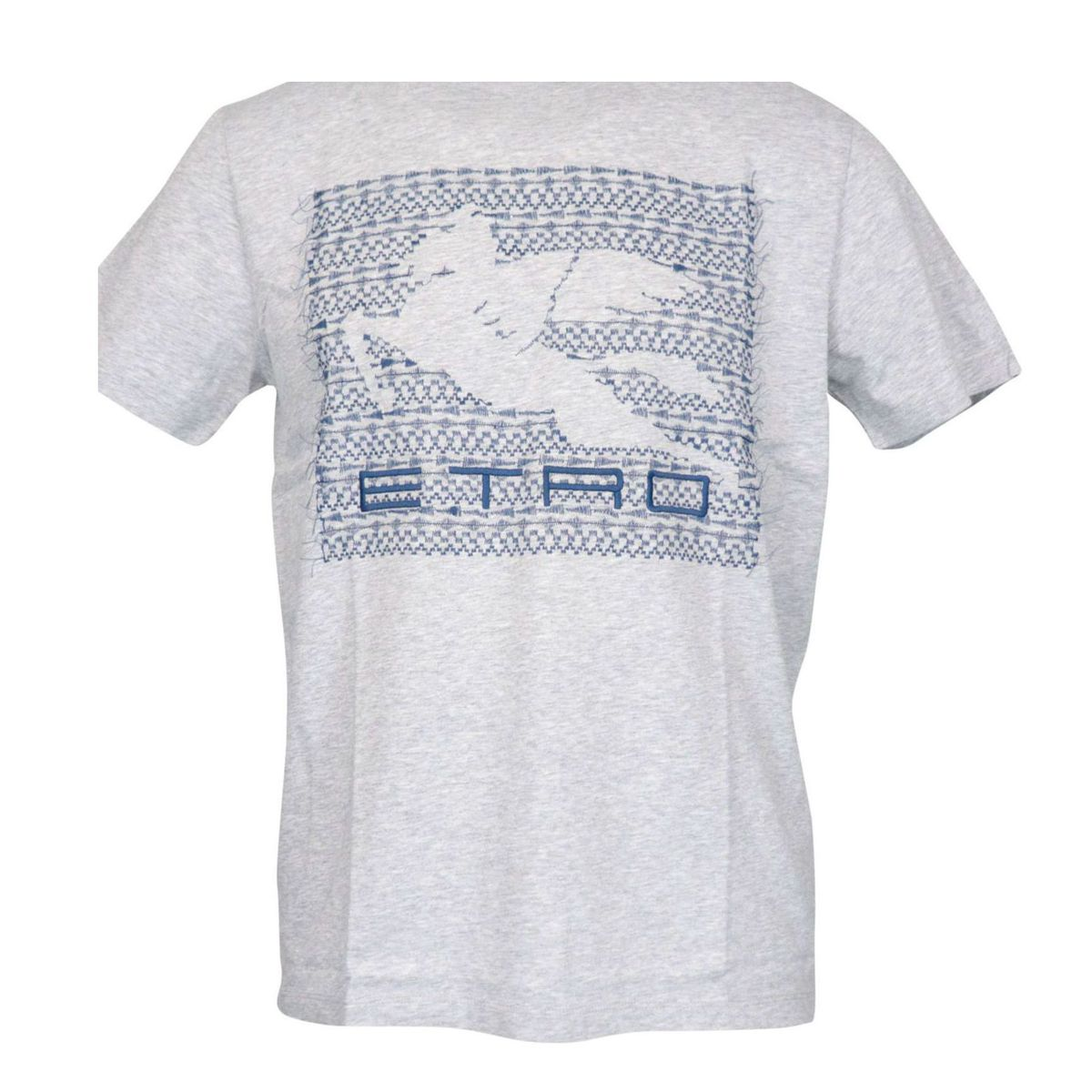 Regular-fit cotton T-shirt with contrasting logo embroidery Grey Etro
