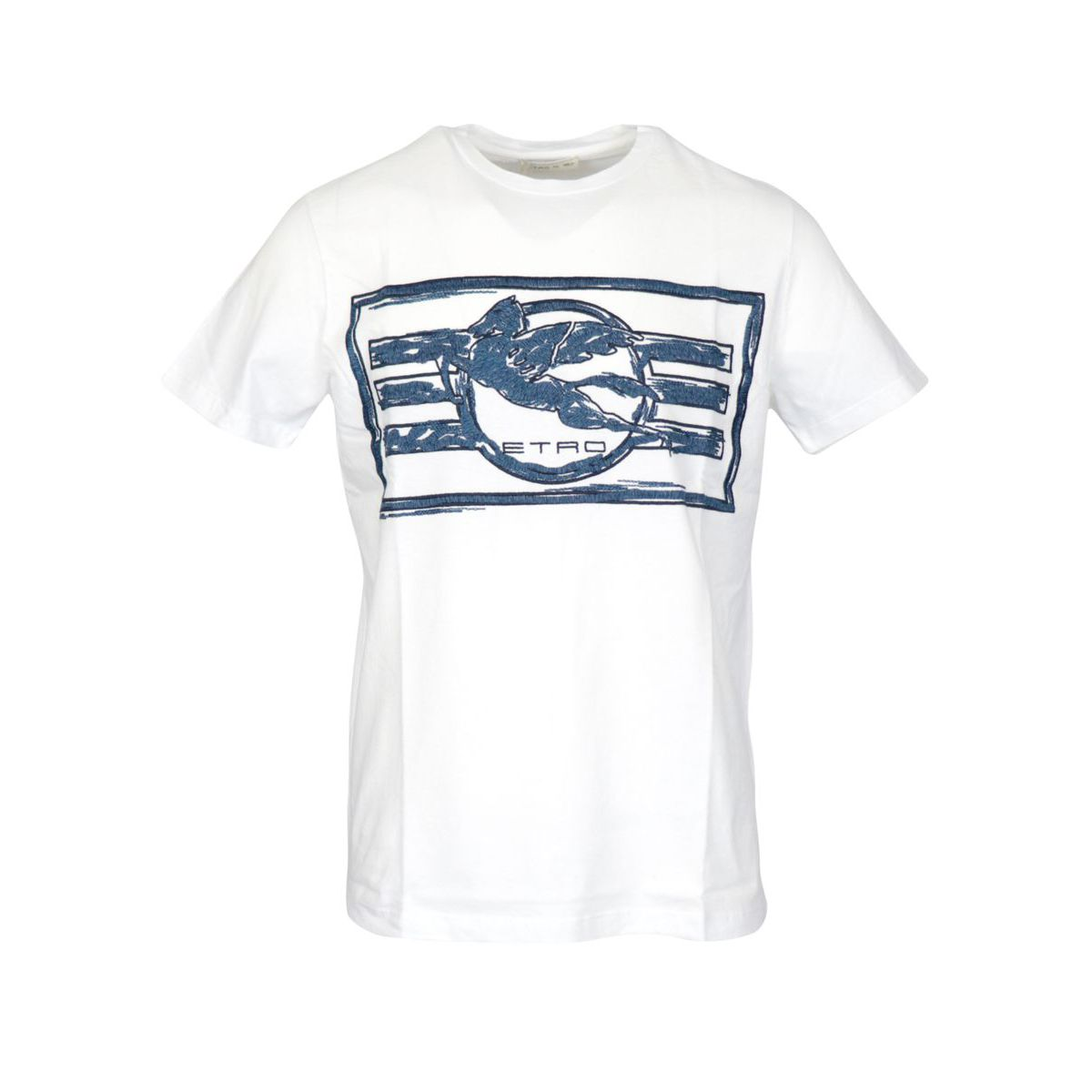 Regular-fit cotton T-shirt with contrasting print White Etro
