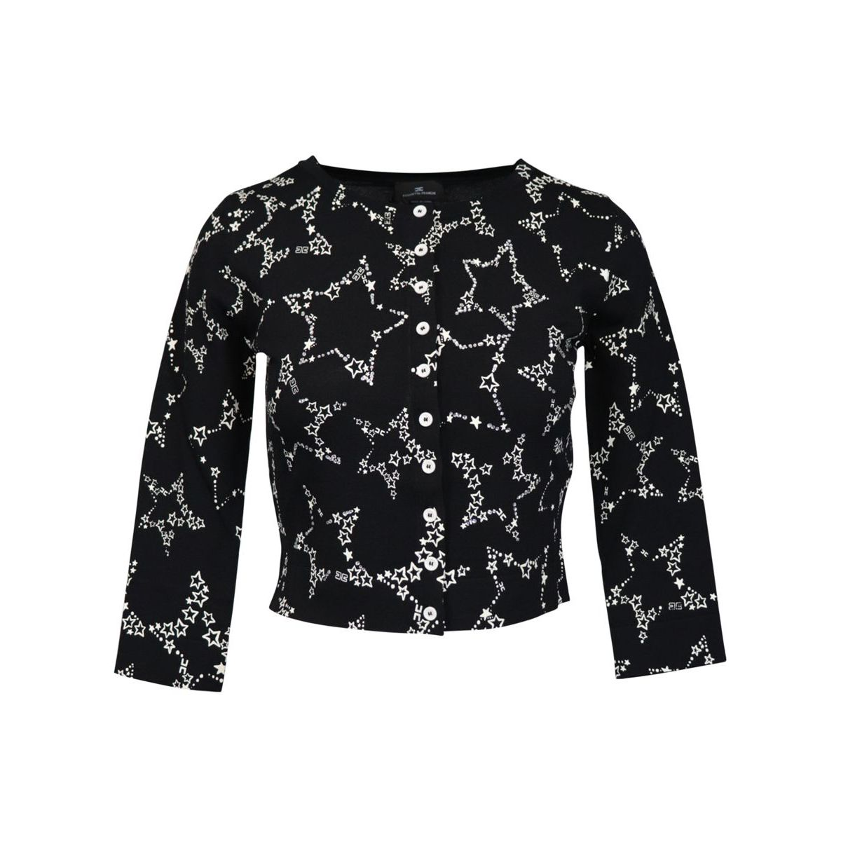 Three quarter sleeve cardigan with star print Black Elisabetta Franchi