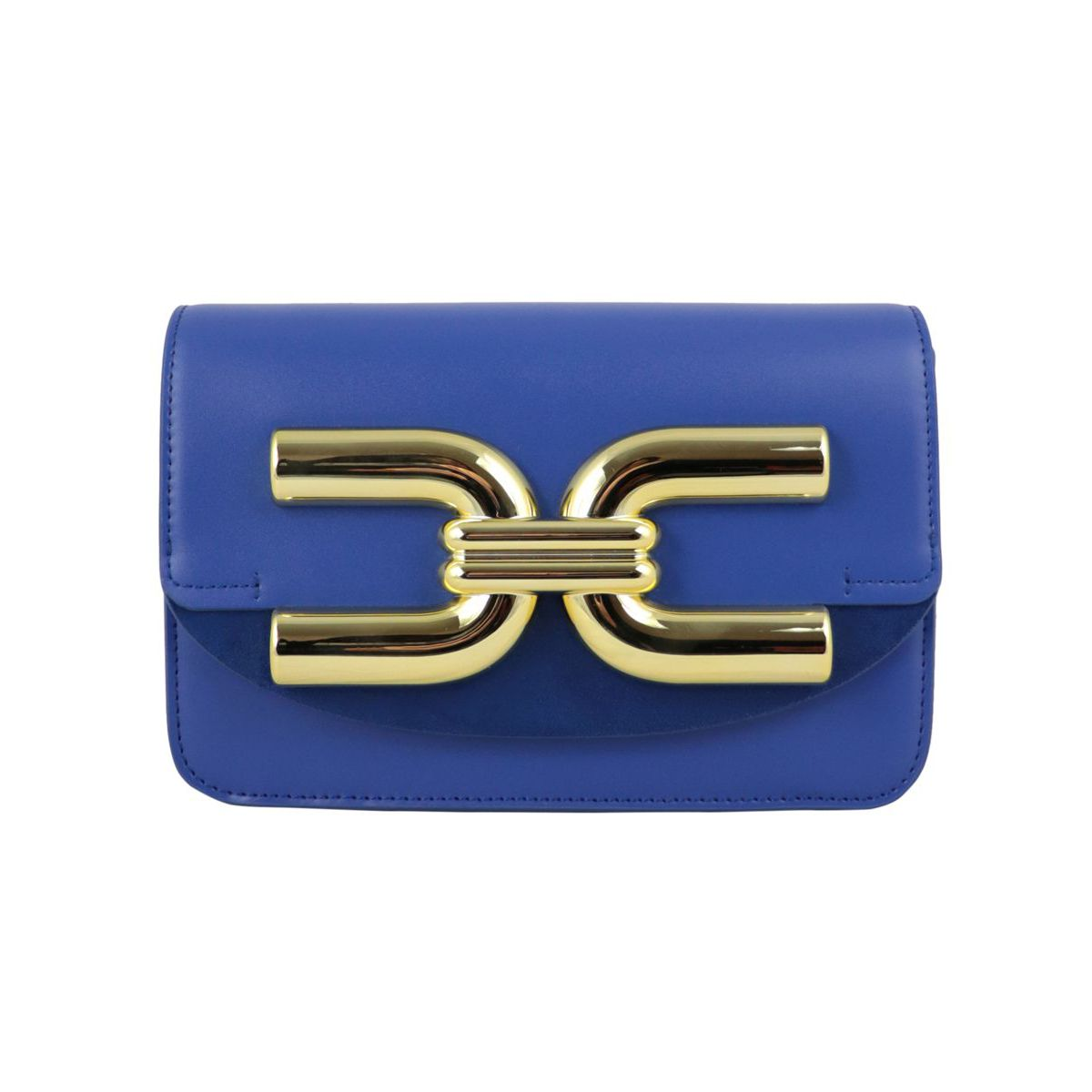 Synthetic leather bag with large logo and chain shoulder strap Cobalt Elisabetta Franchi