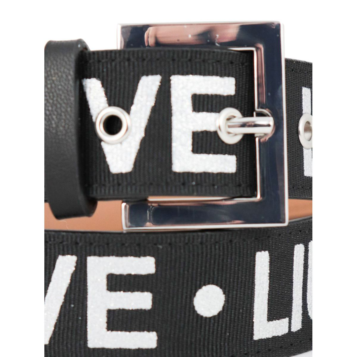 Canvas effect belt with all-over print Black Liu Jo