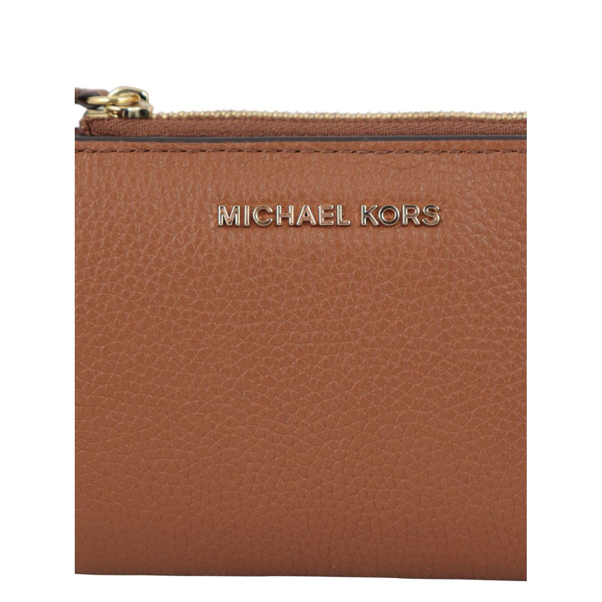 Textured leather wallet with external zipper Leather Michael Kors