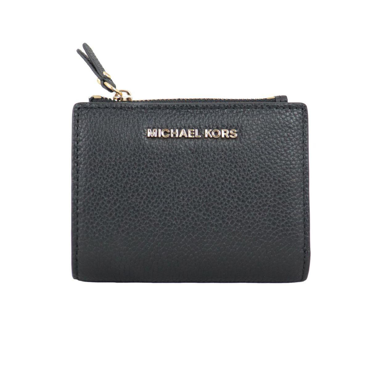 Textured leather wallet with external zipper Black Michael Kors