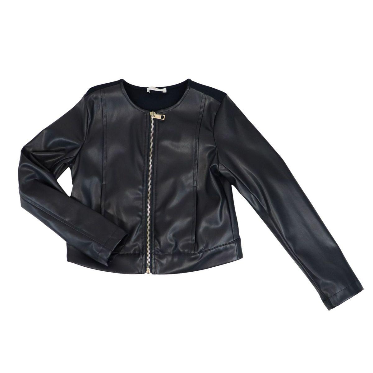 Faux leather jacket with fabric back Blue Liu Jo