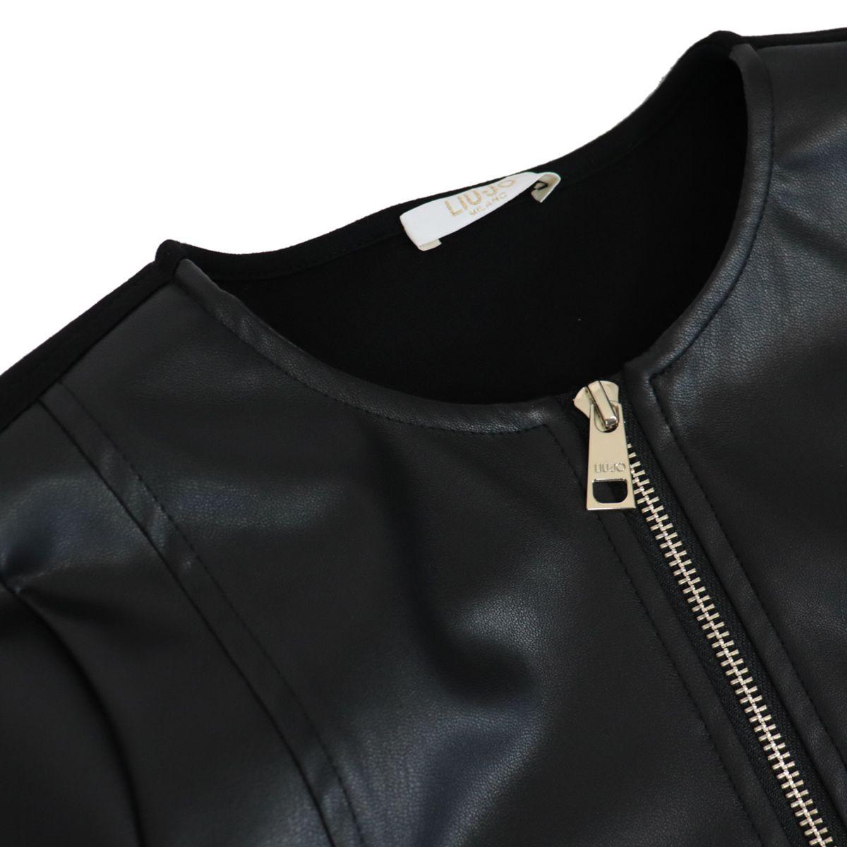 Faux leather jacket with fabric back Black Liu Jo