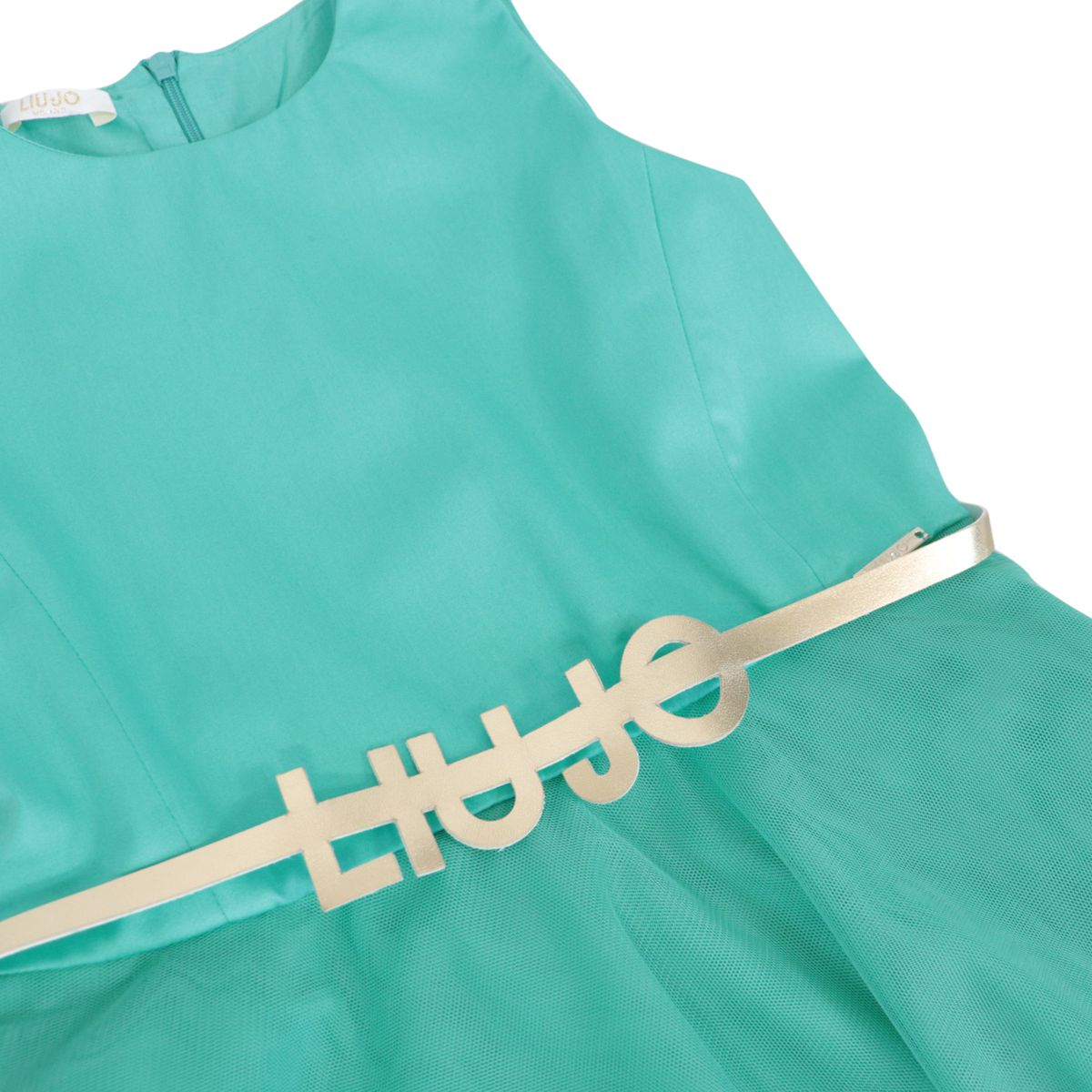 Cotton dress with tulle skirt and logo belt Green water Liu Jo