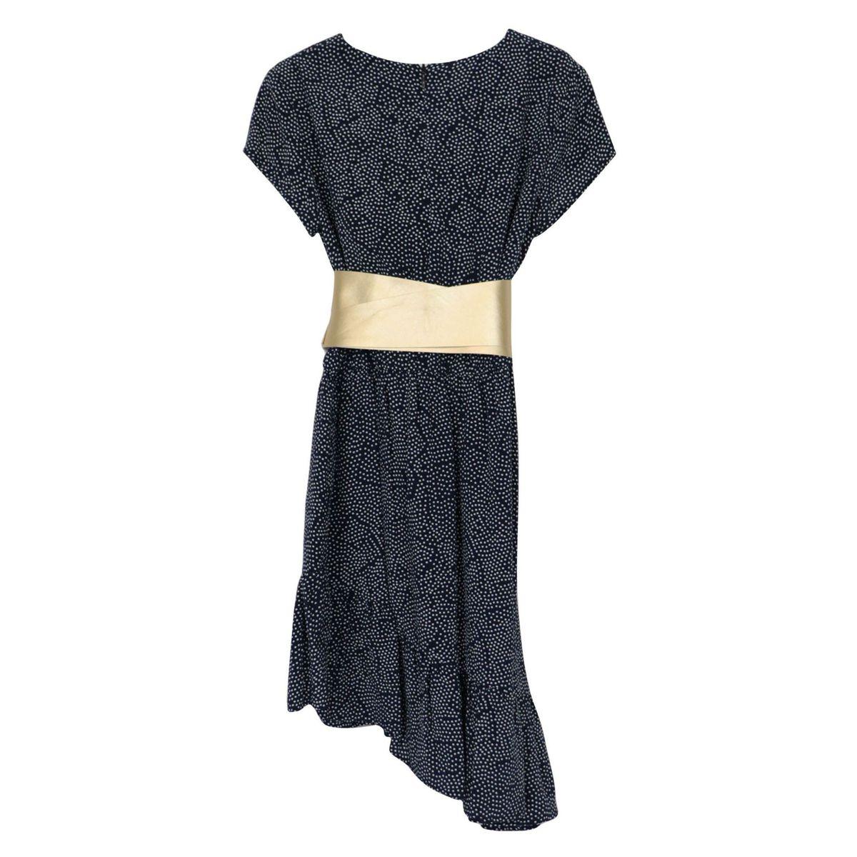 Dress with asymmetrical viscose bottom with sash belt Blue Liu Jo