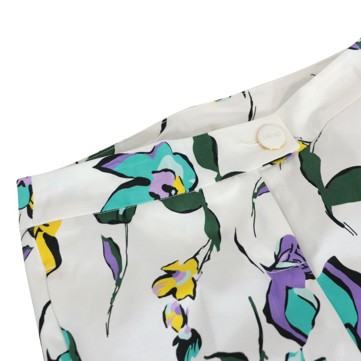 Cigarette trousers in stretch cotton with flower print Fantasy white Liu Jo