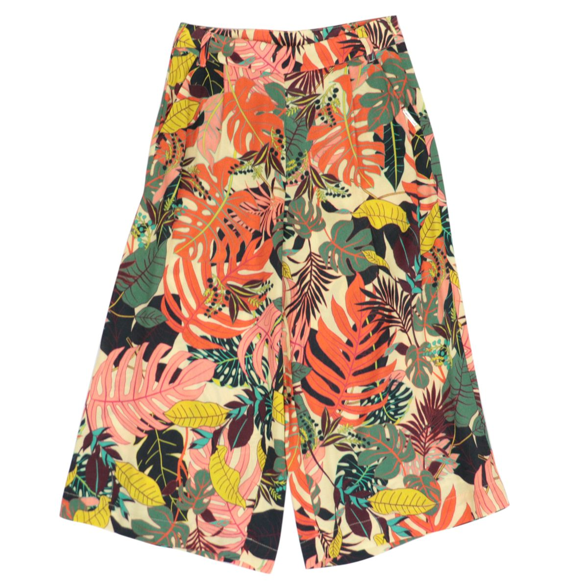 Wide cropped trousers in viscose with floral print Orange Liu Jo