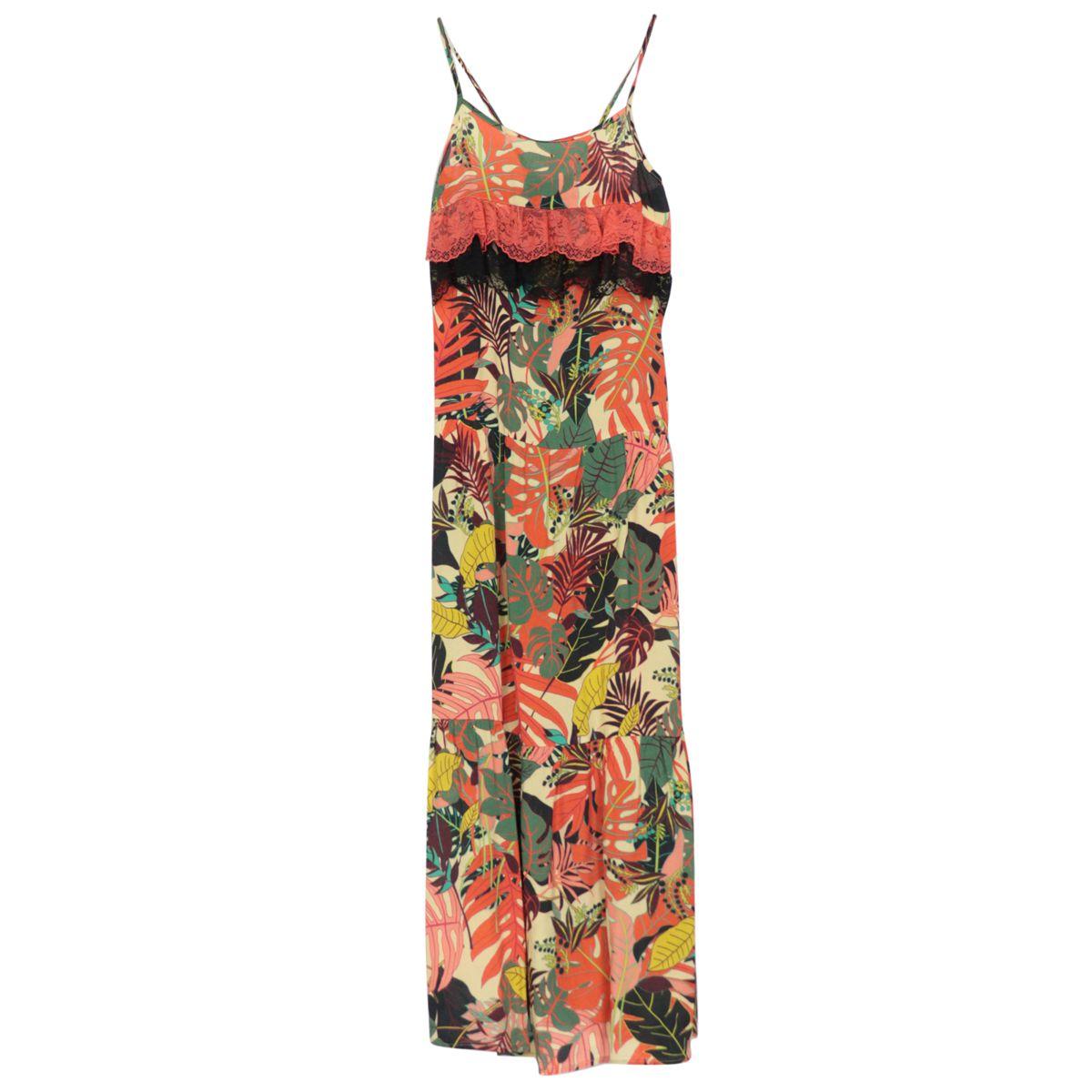 Long viscose dress with floral print and lace ruffles Orange Liu Jo