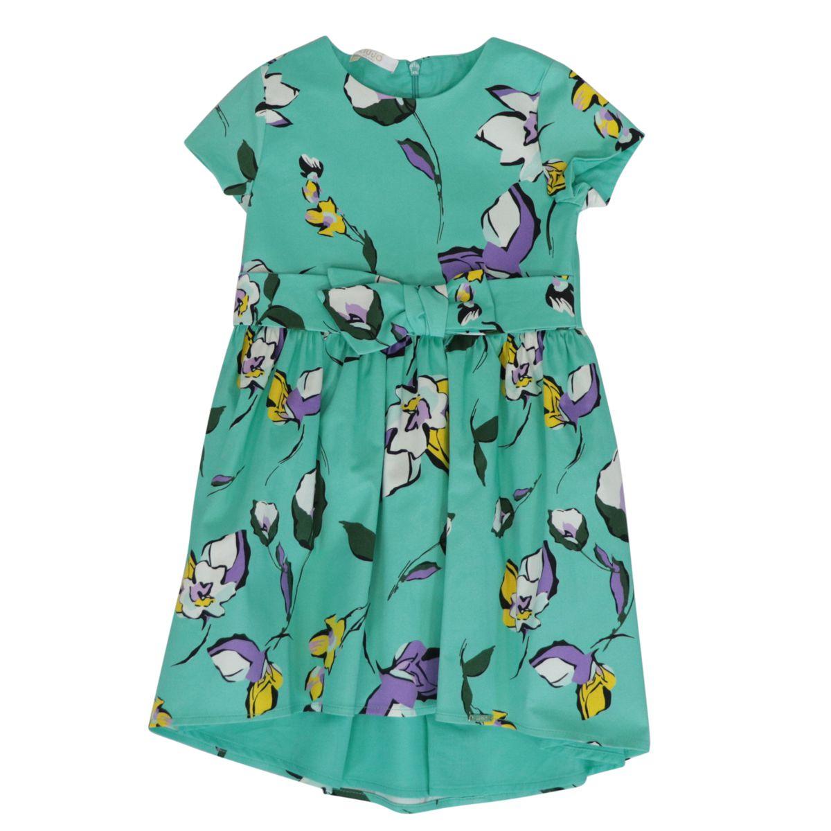 Short asymmetrical cotton dress with flower print and belt Green water Liu Jo