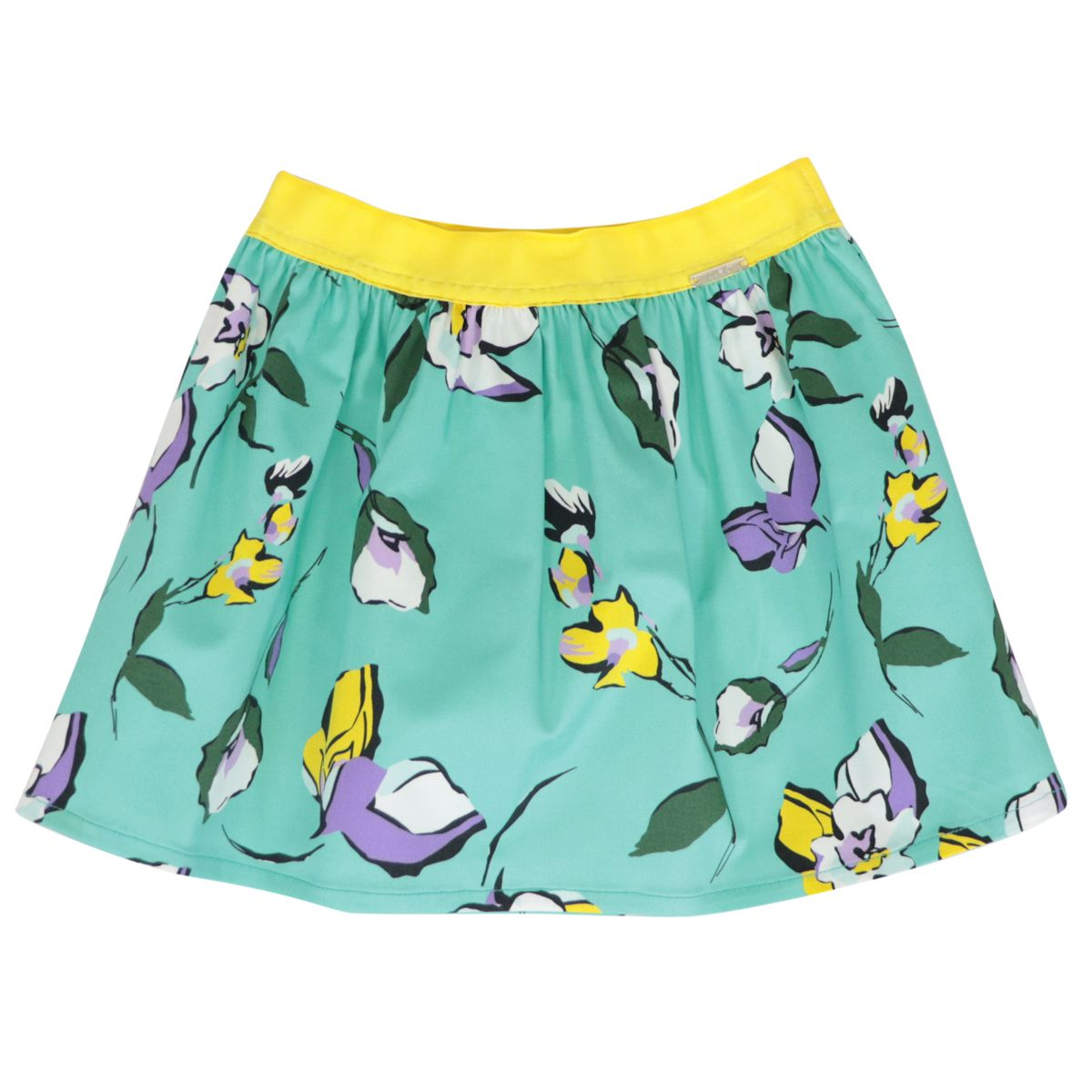 Cotton skirt with flower print and elastic band Green water Liu Jo