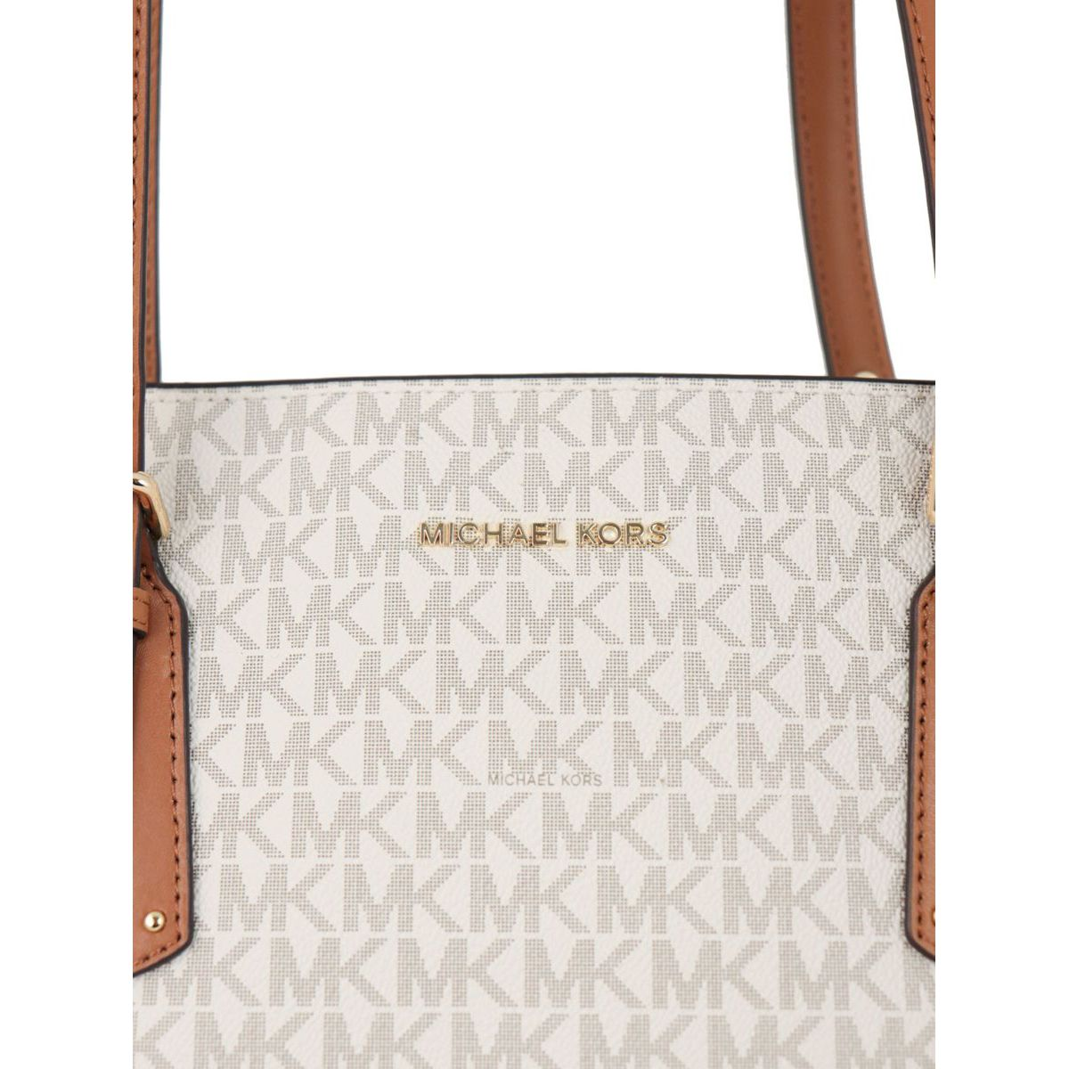 VOYAGER tote bag in leather with all over logo print Vanilla Michael Kors