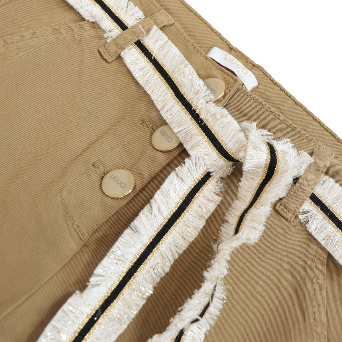 Cropped cotton trousers with visible logoed buttons Caramel Liu Jo
