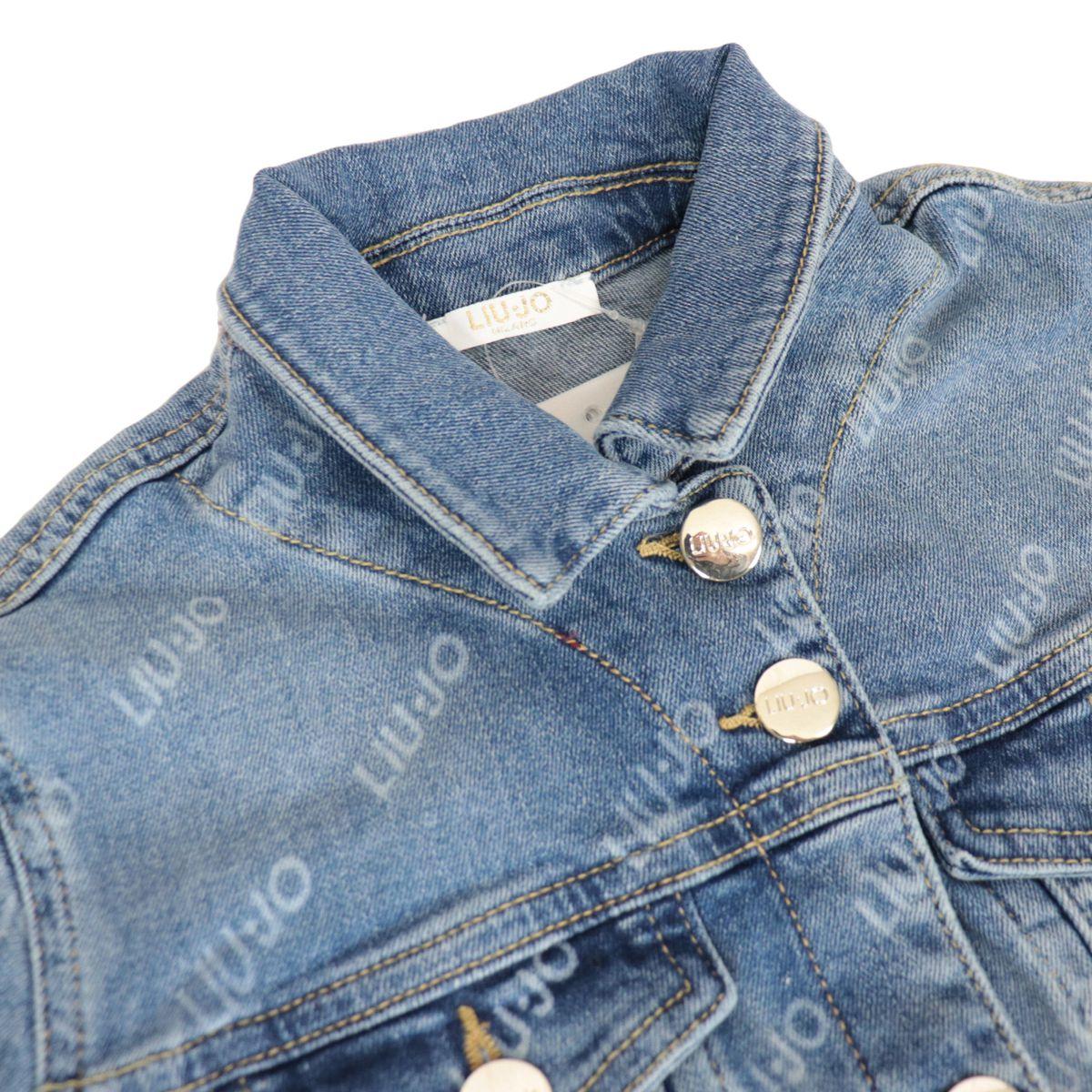 Denim jacket with all over logo lettering Blue denim Liu Jo
