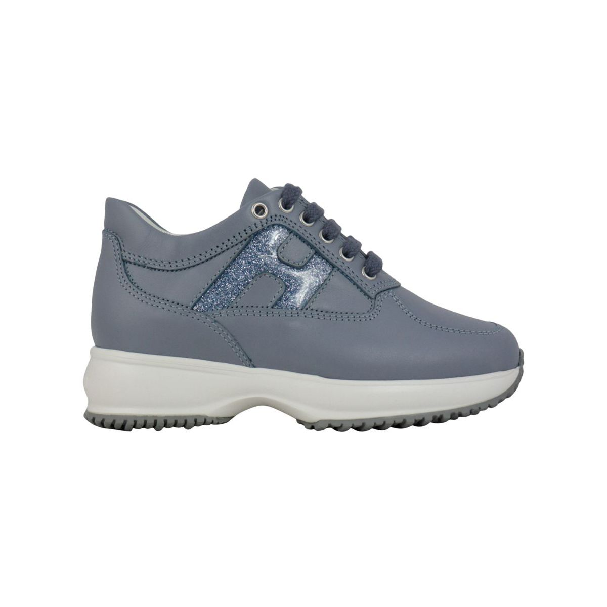 Interactive leather sneakers with H glitter Powder blue Hogan
