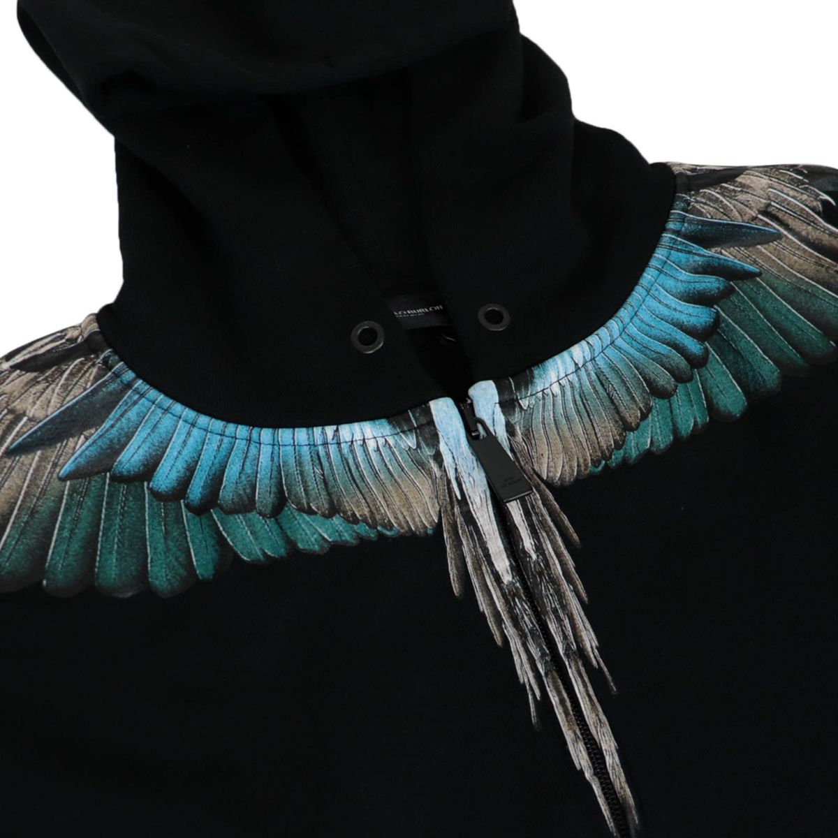 Cotton sweatshirt with wings print and hood Black MARCELO BURLON
