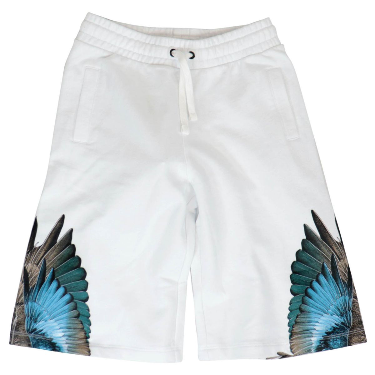 Lightweight cotton fleece shorts with phoenix print White MARCELO BURLON