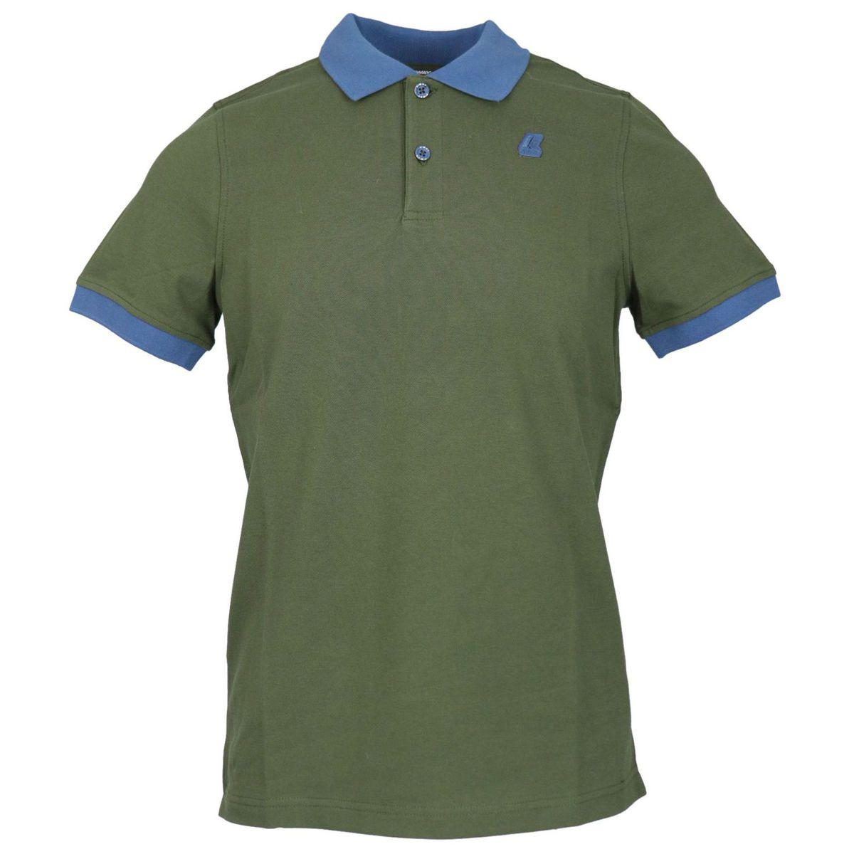 Vincent Bicolor stretch cotton pique polo Green K-Way