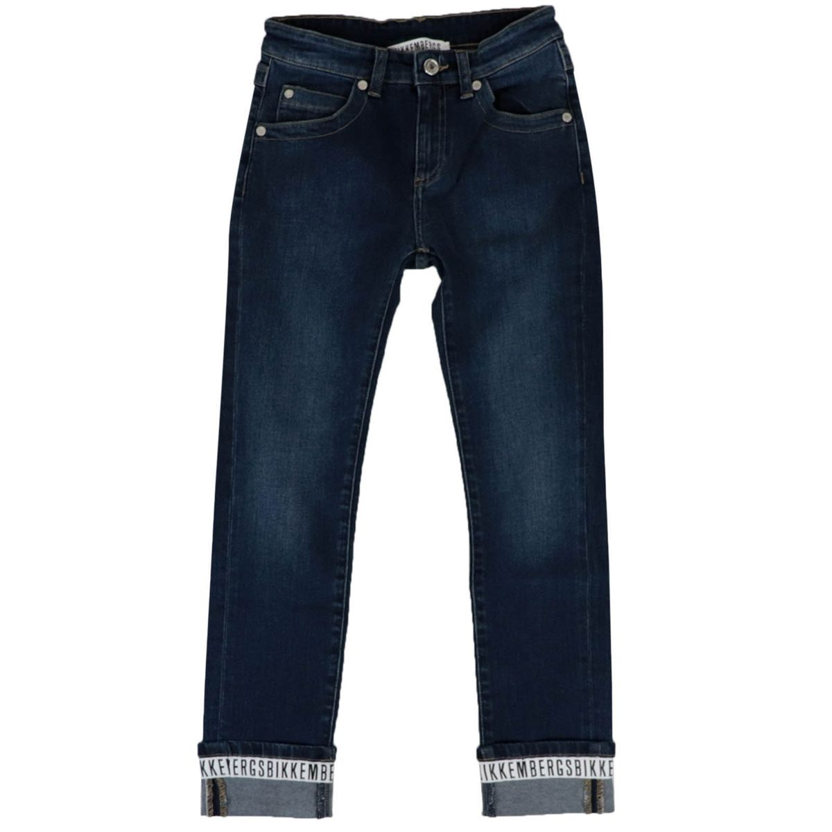 Stretch denim jeans with logoed band on the bottom Denim Bikkembergs