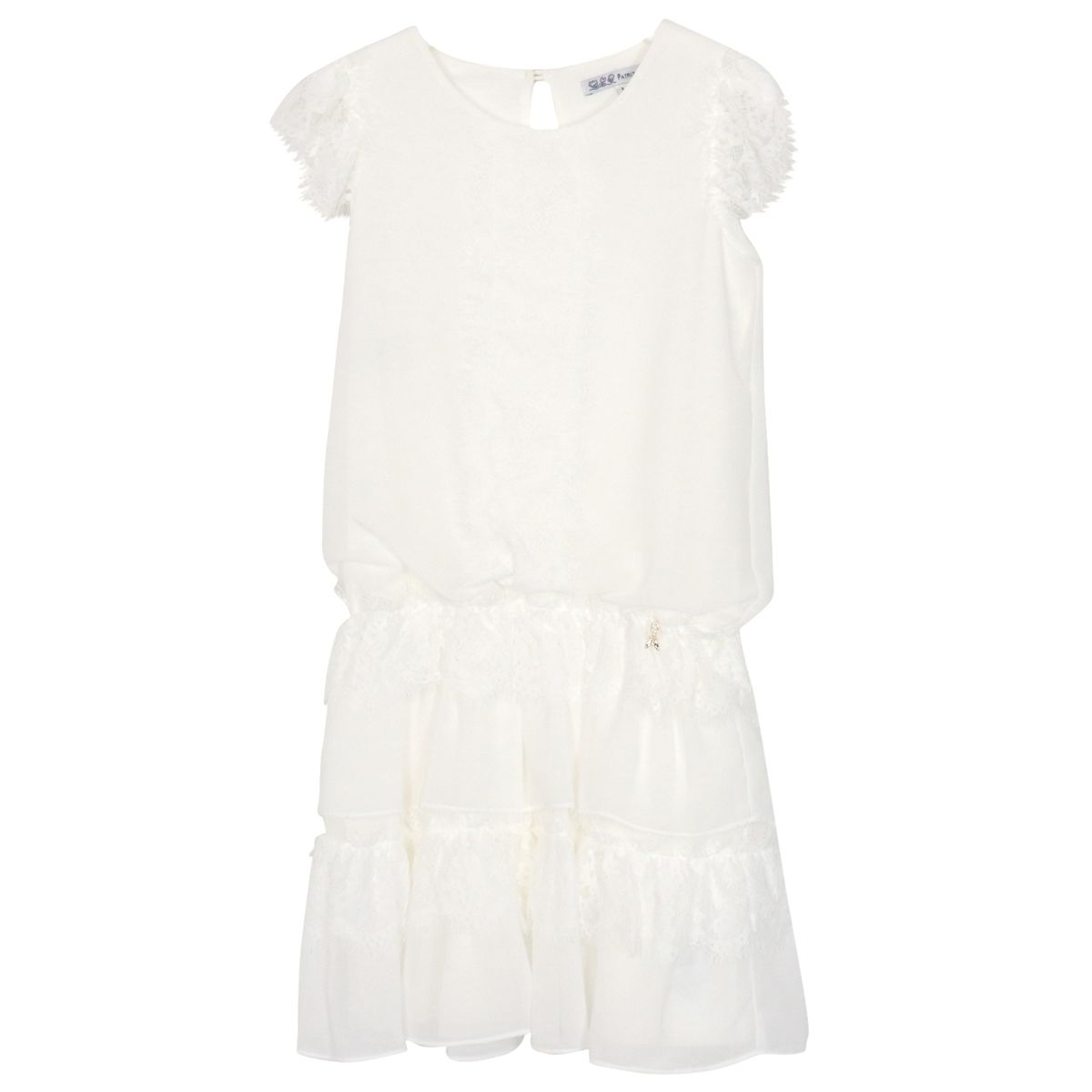 Viscose dress with lace inserts Cream Patrizia Pepe