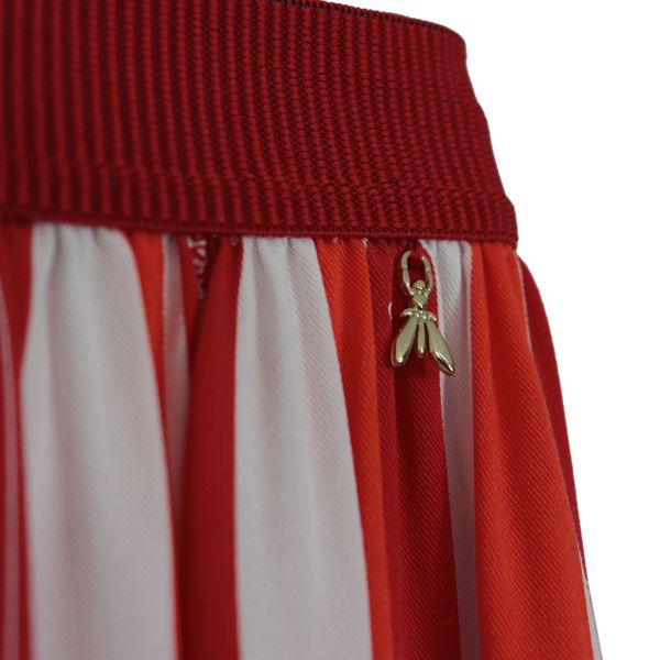 Long high-waisted skirt with striped pattern Red Patrizia Pepe