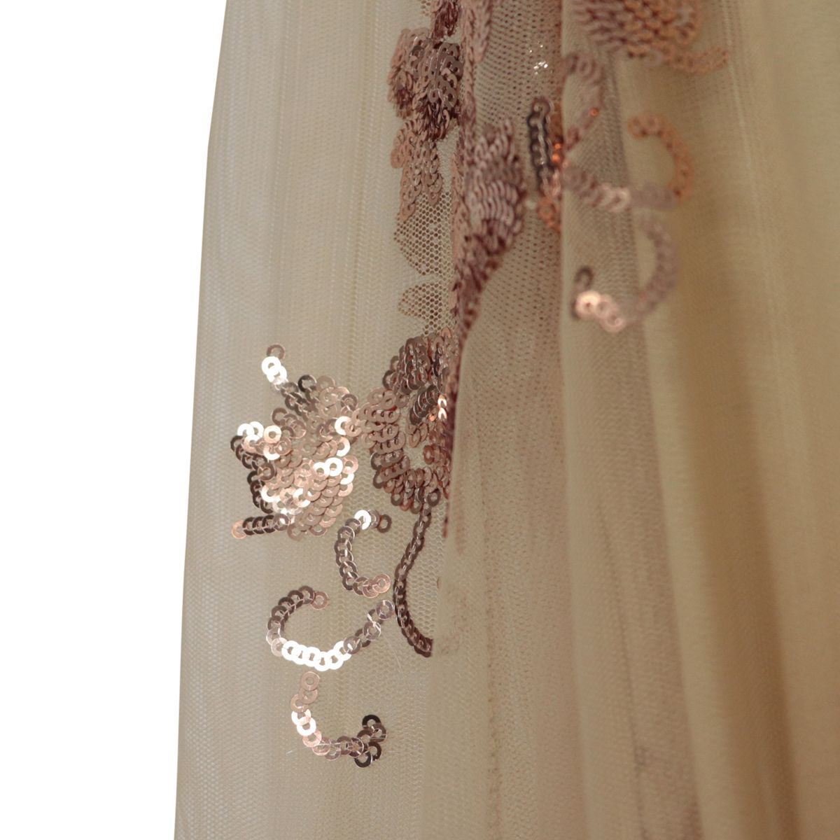 Tulle jumpsuit with sequin embroidery and waist belt Copper Patrizia Pepe