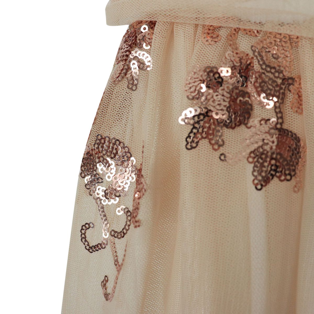 Sleeveless tulle dress with sequin inserts Copper Patrizia Pepe