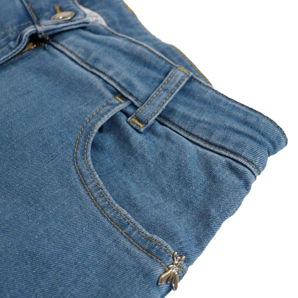 Wide stretch denim jeans with frayed edges Blue denim Patrizia Pepe