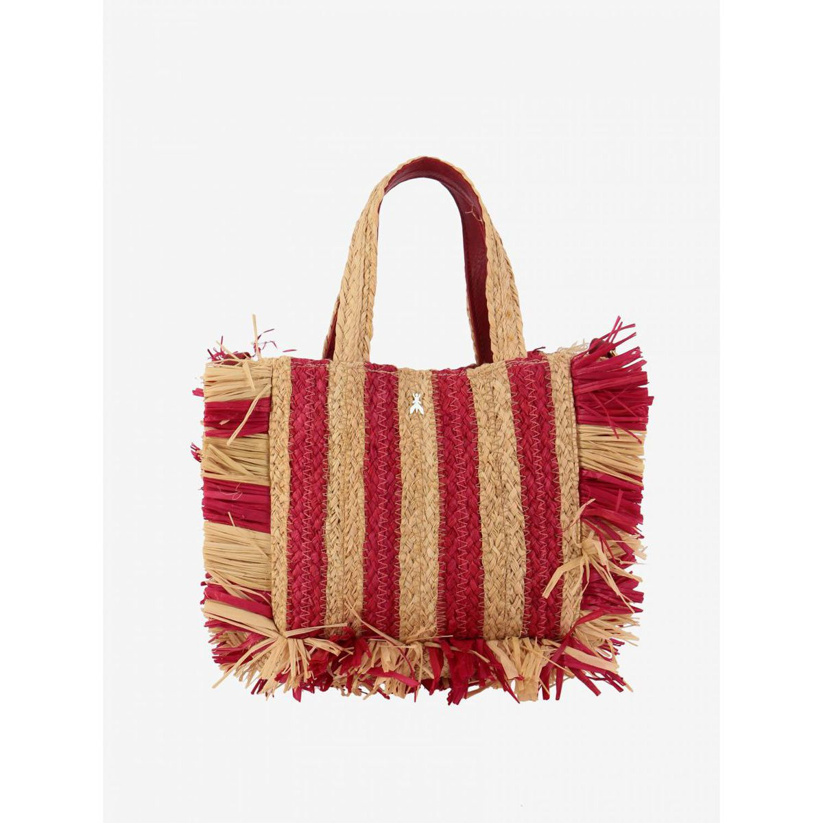 Woven raffia bag with two-tone bands Red Patrizia Pepe